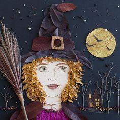 "☾☾ Halloween Ѽ All Hallows ☾☾ ""Witch Hazel"" Flower Face Print Cool Halloween Costumes, Halloween Art, Happy Halloween, Flower Prints, Flower Art, Leaf Crafts, Arte Popular, Nature Crafts, Unique Art"