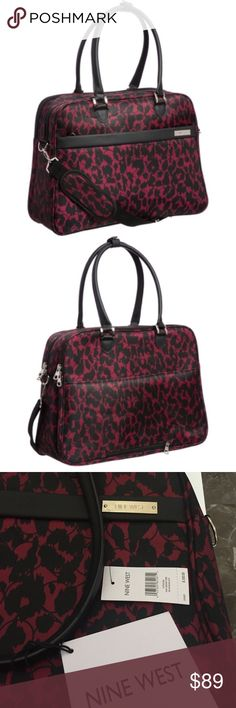 "Nine West Briar Boarding Bag Gorgeous Nine West Briar Collection All Boarding Bag!!✈️✈️ Floral black and red patterned! Dimensions 18.5""x14""x7"". Fully lined with 2 top zippered sections with laptop section and organizer section. Front outside zip compartment and back zipped slide through sleeve for piggy backing on larger bags!! Nine West Bags Travel Bags Red Pattern, Fashion Tips, Fashion Design, Fashion Trends, Travel Bags, Nine West, Designer Handbags, Larger, Laptop"