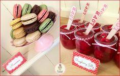 Valentine's Day Dessert Table! ❤️ #macarons #macaroons #jellypots #jelly #jellopots #jello #raspberries #minipots