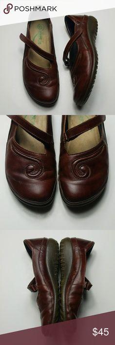 c0360ac86f41 NAOT chestnut leather matai Mary Jane flat Chestnut brown leather Mary Jane  style shoe with swirl
