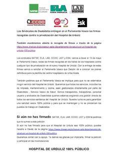 UGT junto con más sindicatos de Osakidetza inicia una recogida de firmas digital contra la privatización del H. Urduliz