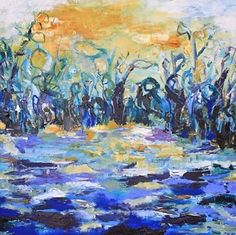 Abstract Flower Painting,Expressionism Art Sun Has Her Pond by Abstract Artist Nijole Rasmussen -- Nijole Rasmussen