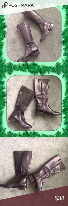 """Atlas / Black Leather Boots / Zipper / Size 8 Atlas / Black Leather Boots / Zipper / Size 8 / Made in Brazil / 1 1/4"""" heel / About 15"""" high.  Please feel free to make an offer - Enjoy BIG discounts on bundles & save $$$ on shipping! I package safely & ship fast.  TY & Happy Poshing! 💜💜💜 Atlas Shoes Heeled Boots"""