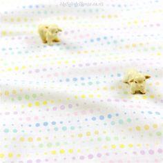 Polka Dots ♥ 51x53m Multi-Colour Spots on Off-White Cotton Fat Quarter Fabric