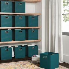 "Latitude Run Nordland 85.9"" H x 41.8"" W Over Bed Shelving Unit   Wayfair Fabric Storage Boxes, Fabric Drawers, Fabric Bins, Storage Hacks, Cube Storage, Storage Baskets, Bin Storage, Storage Containers, Shoe Storage Cabinet"