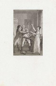 Reinier Vinkeles | Twee mannen houden een derde man in toom, Reinier Vinkeles, 1797 - 1811 | Interieur met twee mannen die een andere man in toom proberen te houden. Bij de mannen staat een vrouw.