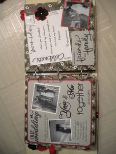 the wedding page of the anniversary album