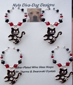 Cat Wine Glass Charms Hoops  Silver plated originals by NylaDivaDogDesigns, $30.00