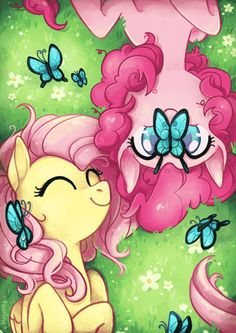 Image via We Heart It https://weheartit.com/entry/132596135/via/23639672 #butterflies #mylittlepony #pinkiepie #fluttershy