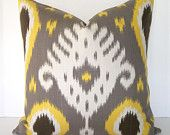 Ikat Decorative Pillow Cover - 20x20 inches - Grey - Gold - Yellow - Ivory. $45.00, via Etsy.