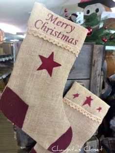 Primitive Country Burlap MERRY CHRISTMAS Stocking Winter Home Decor 16 X 7 X 9 #Unbranded