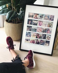 """My big Polaroid frame had a baby. Polaroid Pictures Display, Polaroid Picture Frame, Polaroid Foto, Polaroid Display, Polaroid Frame, Polaroids On Wall, Big Picture Frame Ideas, Polaroid Collage, Diy Wall Decor For Bedroom"