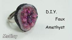DIY faux amethyst geode ring - Polymer clay tutorial