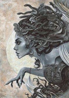 Medusa~By Christopher Lovell – Serpent tattoo Medusa Tattoo Design, Tattoo Design Drawings, Art Drawings, Medusa Drawing, Medusa Art, Medusa Painting, Gothic Fantasy Art, Fantasy Kunst, Medusa Kunst