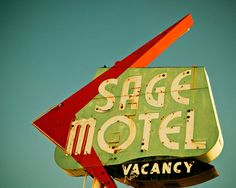 Route 66 Sage Motel Vintage Neon Sign  by RetroRoadsidePhoto