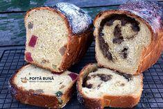 Cozonac pufos de post cu rahat, stafide si halva Loaf Cake, Turmeric, Banana Bread, Sweet Tooth, French Toast, Muffin, Food And Drink, Breakfast, Desserts
