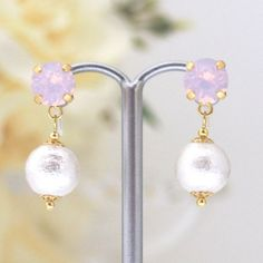 MiyabiGrace: Rosewater Opal Swarovski Crystals and White Cotton Pearl Invisible Clip on Earrings #コットンパールイヤリング #コットンパールノンホールピアス #cottonpearl #CottonPearlEarrings #PearlClipOnEarrings #CottonPearlClipOnEarrings #InvisibleClipEarrings #ClipOnEarrings #SwarovskiClipOnEarrings #WeddingPearlClipOnEarrings  #WeddingSwarovskiClipOnEarrings #WhitePearlClipOnEarrings #OpalSwarovskiClipOnEarrings #PearlNonPiercedEarrings #NonPieredEarrings #PearlEarrings #PinkSwarovskiCliponEarrings #コットンパール…