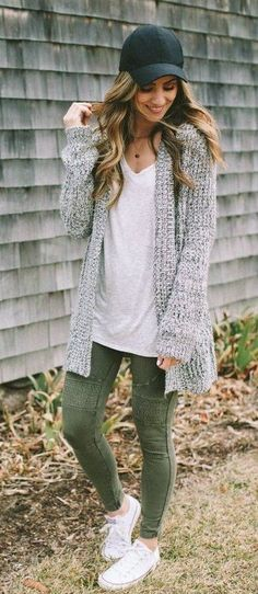 #fall #outfits black cap, gray cardigan, white shirt and sneakers