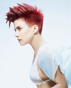 short red straight coloured spikey Womens haircut hairstyles for women