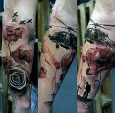 ... and colored military tattoo with flower on sleeve - Tattooimages.biz