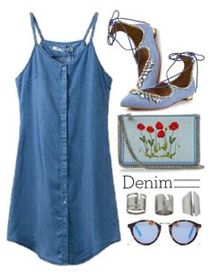 """""""Denim Dress"""" by genuine-people ❤ liked on Polyvore featuring STELLA McCARTNEY, Aquazzura, Topshop, Madewell, denim and Blue"""