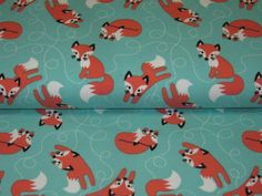 """Organic+Jersey+""""Red+Foxes""""+on+mint++by++Lillestoff+from+Retro-Stoff-Cafe+by+DaWanda.com"""