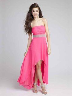 A-line Strapless Chiffon Asymmetrical Sleeveless Ruffles Prom Dresses at pickedlooks.com