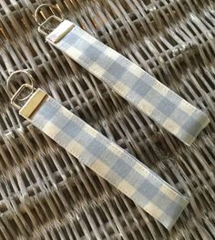 Blue and cream check fabric keyring / by LittlePeaHandmade on Etsy