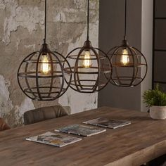 Hanglamp 'Keri' 3-lamps, antiek koper #LampsLivingRoom