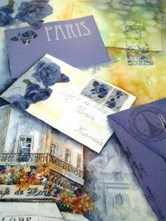 Paris - Cuadro en acuarela pintado por Ana Cenzato - Sobre papel acuarela y con collage de laminas Herminia Devoto