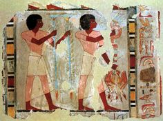 Fragment of wall painting from the Tomb of Sebekhotep,a senior treasury official of the reign of Thutmose IV 18th Dynasty, around 1400 B.C.