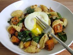 Poached Egg Butternut Squash Pasta