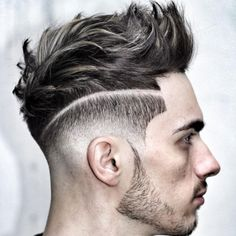 High Low Fade with Quiff and Stubble