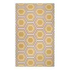 Honeycomb Rug in Yellow & Gray