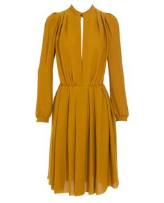Lanvin Silk-blend Pleated Dress Mustard crepe silk-blend style pleated dress by Lanvin. Brown Fashion, Autumn Fashion, Fall Outfits For Work, Vestidos Vintage, Up Girl, Madame, Mode Inspiration, Lanvin, Passion For Fashion