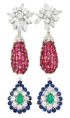 Pair of Platinum, Gold, Diamond and Ruby Pendant-Earrings with Interchangeable Diamond and Gem-Set Pendants