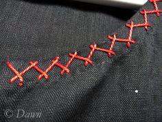 Neckline embroidery stitches on black linen underdress …