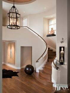 Contemporary Curved Wooden Staircase #MichelleMillerMackintoshInc.,REALTOR #301.606.3703 #FrederickMarylandRealEstate #michellemillerhomes@outlook.com  start your most accurate search here: #http://michellemiller2.xactsite.com