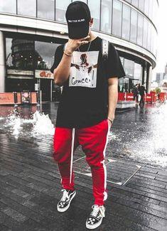 look masculino com calça vermelha