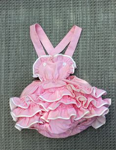 Vintage Baby Girl Romper Sunsuit Pink Gingham Ruffled on Etsy, $18.00