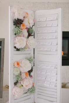 Using Shutters for wedding table seating board -  Newport Wedding from Ruth Eileen Photography