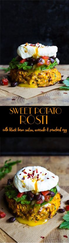 Oven baked sweet potato rosti with black bean salsa, avocado and poached egg…
