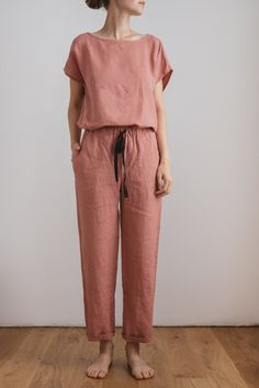 Linen pajamas women/ Linen pajama set/ Women's sleepwear/ Linen nightwear/ Linen blouse/ Linen trousers/ Pyjamas / AUDREY top and EVA pants - women pajamas Trousers Women Outfit, Pants For Women, Clothes For Women, Linen Pants Women, Pants Outfit, Sleepwear Women, Pajamas Women, Women's Sleepwear, Loungewear