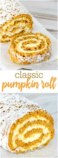 The BEST Pumpkin Roll recipe - with a Cream Cheese filling, this classic fall dessert is one that everyone will enjoy during pumpkin season!
