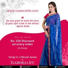 "Just wrap sarees by isadora life ""wrap in 1 Minute Saree"" like a wraparound skirt and your perfect saree is draped. Crepe Saree, Plain Saree, Saree Border, Work Sarees, Look In The Mirror, Nude Color, Printed Sarees, Cotton Silk, Blue Fabric"