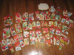 Vintage Lot 63 Valentines Day Card Unused 50s 60s Children Disney Paper Ephemera