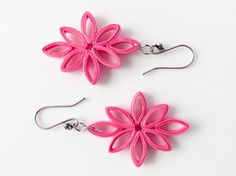Paper jewelry - Bright pink fuchsia diamond leaves by Paperica, $14.99