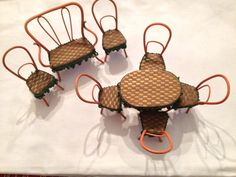 Vintage Bent Reed Thonet Style 8pc. Doll House Bistro Set. $100.00, via Etsy.