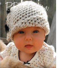 Crochet PATTERN-The Baby Lydia Cloche' (0/3-3/6-6/12 month sizes) also can be Made to Order.