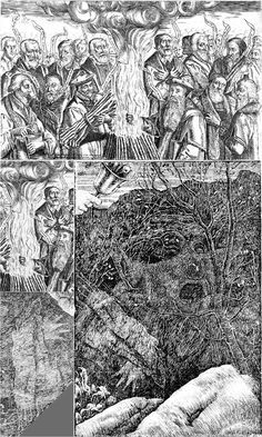 """Henry Holiday's illustration to the chapter """"The Vanishing"""" in Lewis Carroll's """"The Hunting of the Snark"""" and Thomas Cranmer's burning : UnusualArt"""